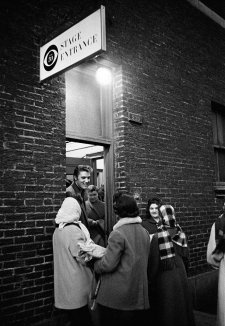 Elvis at Stage Door, CBS Studio 50, New York City.