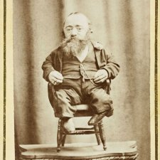 At the Pantechnetheca, Exhibition, Eastern Arcade, Dominick Sonsee, the smallest man in the world, c. 1880 by William Burman