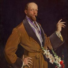 Self portrait with gladioli, 1922 by George Lambert