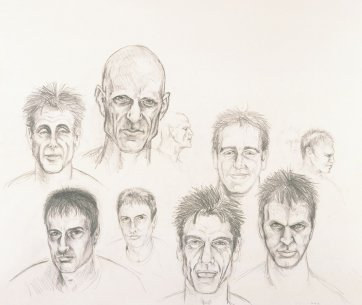 Preparatory study for 'Nothing's as precious as a hole in the ground'.  Head studies, 2001 by eX de Medici