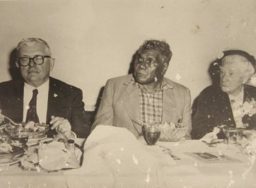 Dr HV Evatt, Albert Namatjira and Dame Mary Gilmore having a meal, c. 1950s by Unknown
