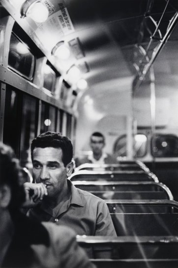 Charles Perkins on bus to Tranby Aboriginal College, Glebe, c.1964 (printed 2003) by Robert McFarlane