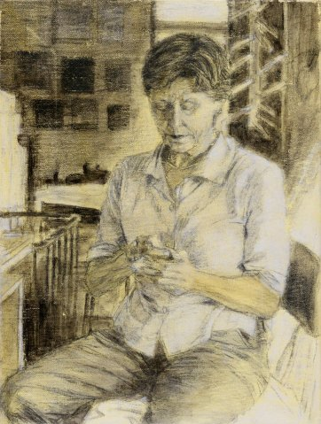 Study (c) for portrait of Helen Garner, 2003 by Jenny Sages