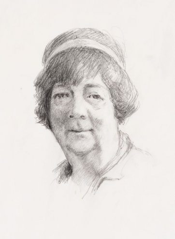 Head study for portrait of Margaret Olley, 1994 by Jeffrey Smart