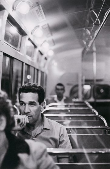 Charles Perkins on a bus to Tranby Aboriginal College, Glebe, c.1964 (printed 2015) by Robert McFarlane