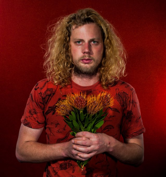 Self-portrait with flowers (presumed native), 2015 by Liam James