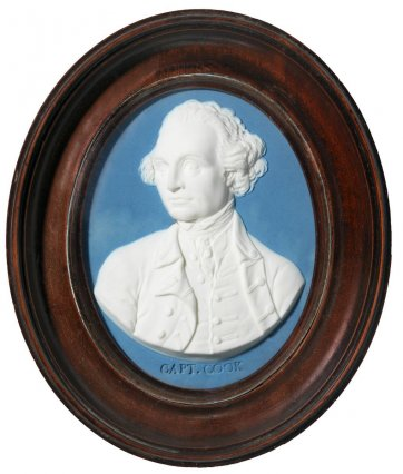 Jasperware medallion of Captain James Cook, 1779 by Wedgwood and Bentlley