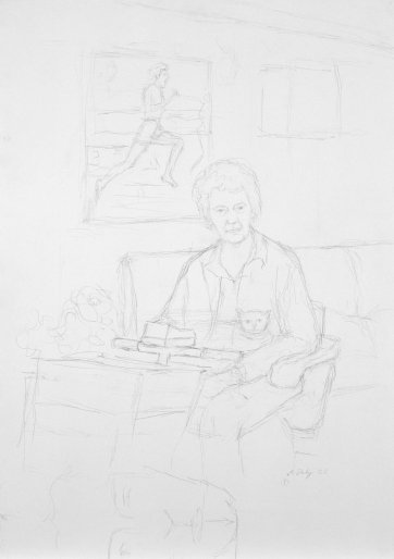 Preparatory study for Betty Cuthbert, 2002 by Andrew Daly