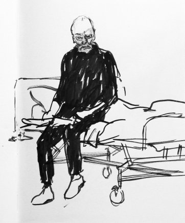 John Bell sitting on bed by Nicholas Harding