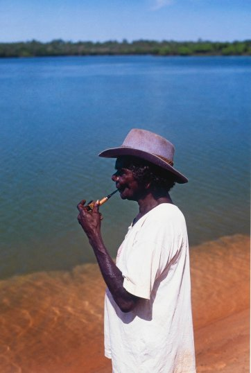Ginger Riley at the Limmen River, Northern Territory, 1992 (printed 2013) by Helga Leunig