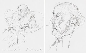 Two portraits of Manning Clark (seated recto), (head, verso), 1985 by Rick Amor