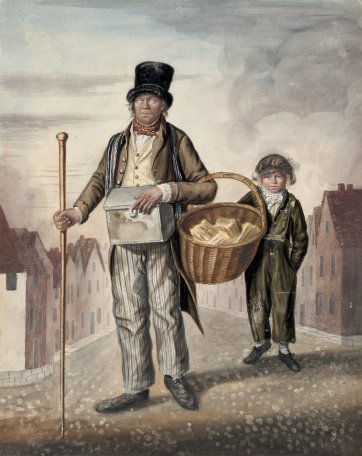 Mark Custings, known as Blind Peter, and his boy, Norwich, 1823 by John Dempsey