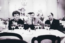 Michael Leunig, Barry Humphries and John Clarke at Mietta's, 1989 (printed 2013) by Helga Leunig