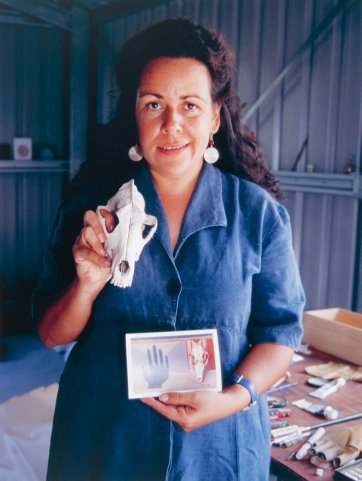 Fiona Foley in her studio at Hervey Bay, 1994 by Juno Gemes