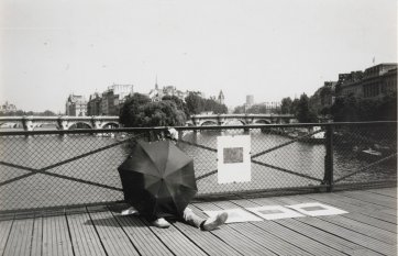 Brett Whiteley with an umbrella in Paris, c. 1989 by Unknown