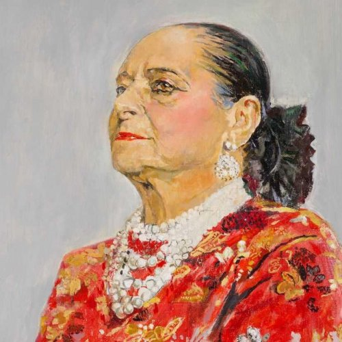 Helena Rubinstein in a red brocade Balenciaga gown, 1957 by Graham Sutherland