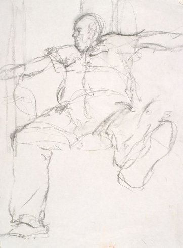 Preliminary sketch of Les Murray, 1995 by David Naseby