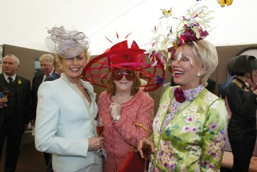 Lady McMahon, Eileen Bond and Lady Renouf in the Moet tent at the Melbourne Cup, 2003 by Paul Harris