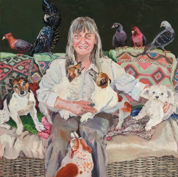 Chris with dogs and birds, 2016 by Lucy Culliton