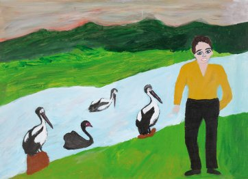 Untitled (boy beside river with 3 pelicans and swan) by Violet Frisby
