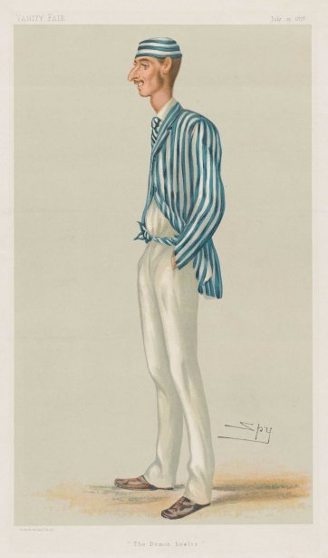 "The Demon Bowler""  Frederick Robert Spofforth (image plate from Vanity Fair), 1878 by Sir Leslie Ward"