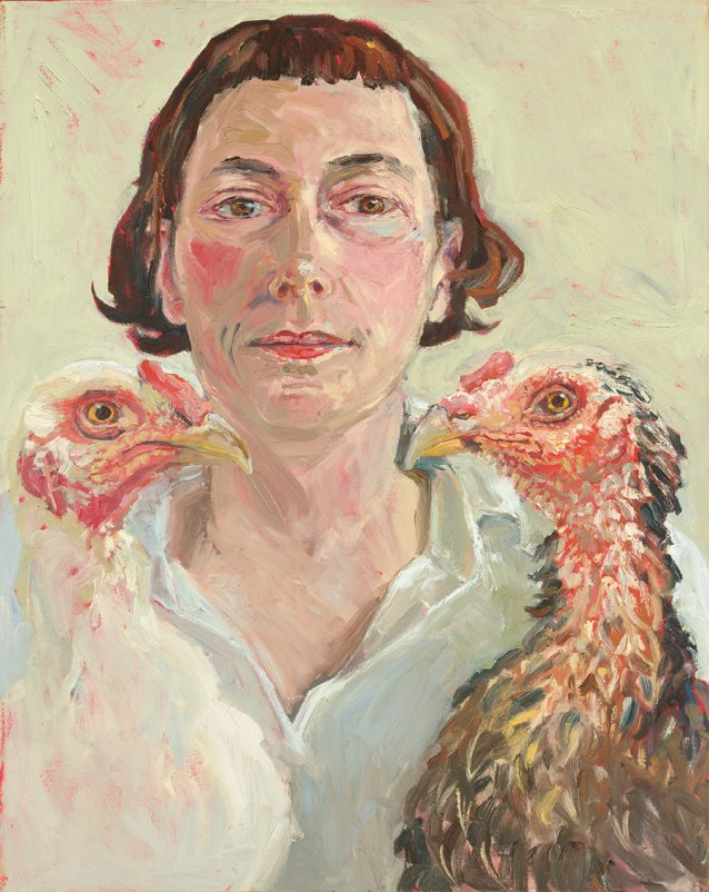 Self portrait with two chickens, 2003 by Lucy Culliton.
