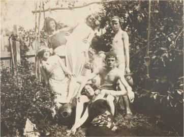 Ruby, Norman, Pearl, Percy, Reg, Bill Dyson and Mary in Creswick garden, c. 1899 by an unknown artist