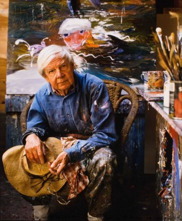 Arthur Boyd in his studio at Bundanon, 1993 by Adam Knott