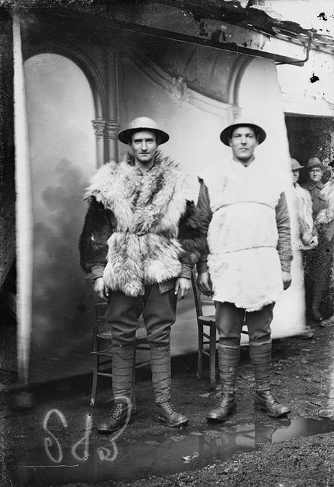 Possibly Private Frederick Johnson (right) with unknown Australian soldier in Vignacourt, France c. 1916-17 by Louis Thuillier