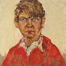 Self Portrait in red shirt, 1937 by Arthur Boyd