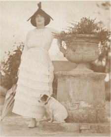 Rose Lindsay in garden at Springwood with Peter the fox terrier, c. 1924 Harold Cazneaux