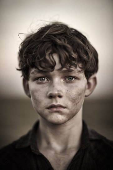 Levi Miller on the set of