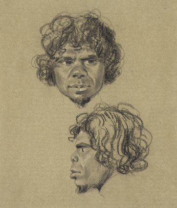 Two portrait views of the head of an un-named young bearded indigenous Australian man, full face and in profile to left, 1834-5