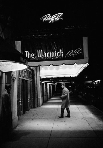 Alone, outside The Warwick Hotel, New York City.  March, 17, 1956 by Alfred Wertheimer