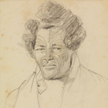 Bust-length portrait of 'Edanghe from long Islands', a heavily-tattooed Maori man, 1834-35