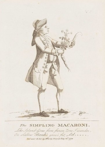 The Simpling Macaroni, 1772 by Matthias Darly