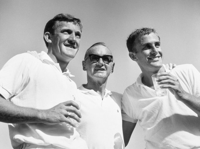 Tony Roche, Harry Hopman and John Newcombe
