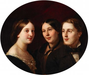 Marianne Egan and her children Gertrude Evans Cahuac and Henry William Cahuac, 1857 by an unknown artist