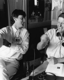 Roy and HG: John Doyle as Roy Slaven (L) and Grieg Pickhaver as HG Nelson: in studio (radio), c. 1990 Reproduced by permission of the Australian Broadcasting Corporation – Library Sales. © 1990 ABC