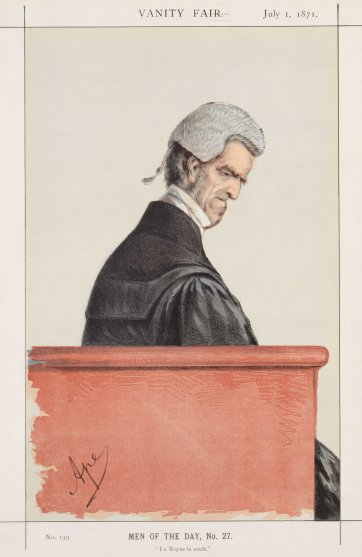 """Men of the Day No.27 ""La Reyne le veult"" Sir John George Shaw-Lefevre (Image plate from Vanity Fair), 1871 by Carlo Pellegrini"