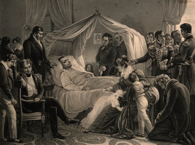 The death of Napoleon Bonaparte at St Helena in 1821 Lithograph after Baron Steuben