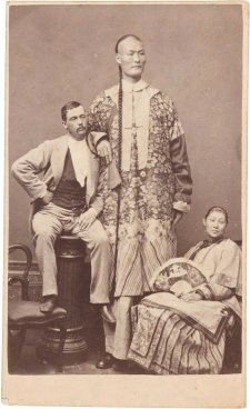 Chang the Chinese Giant with his wife Kin Foo and manager Edward Parlett, c. 1871 by Archibald McDonald