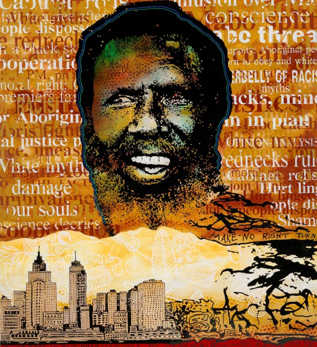 Eddie Mabo (after Mike Kelley's 'Booth's Puddle' 1985, from Plato's Cave, Rothko's Chapel, Lincoln's profile) No.3