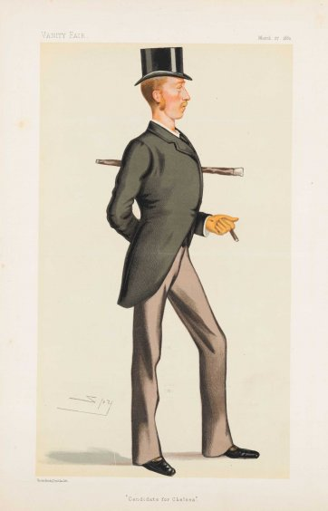 """Candidate for Chelsea"" 9th Earl of Kintore (Image plate from Vanity Fair), 1880 by Sir Leslie Ward"