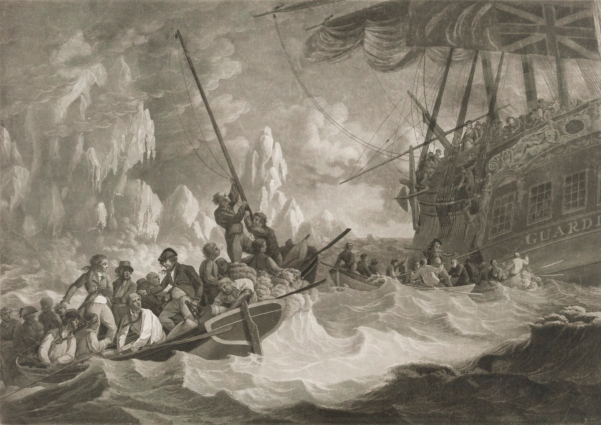 Part of the crew of His Majesty's Ship Guardian endeavouring to escape in the boats, 1790 Robert Dodd