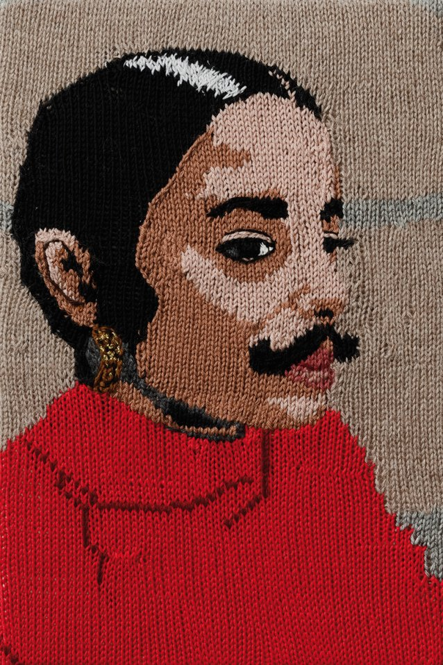 Feminist Fan #25 (Ana Mendieta, Untitled Facial Hair transplant, moustache, 1972) 2016 by Kate Just