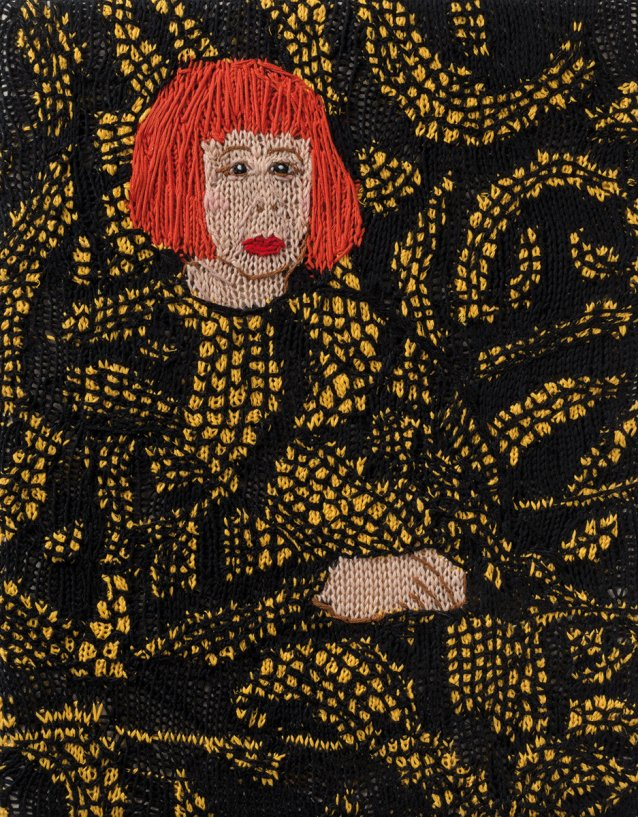 Feminist Fan #29 (Yayoi Kusama, Yayoi Kusama in Yellow Tree Furniture Room at Aich Triennale, Nagoya Japan, 2010) 2016