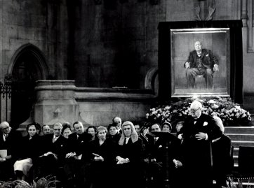 Sir Winston Churchill makes a speech of thanks to MPs on 30 November 1954 after being presented with the portrait Graham Sutherland a gift on his 80th birthday