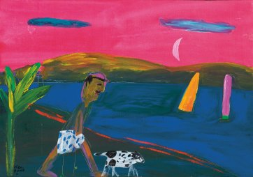 Walking the dog, 1991 by Ken Done
