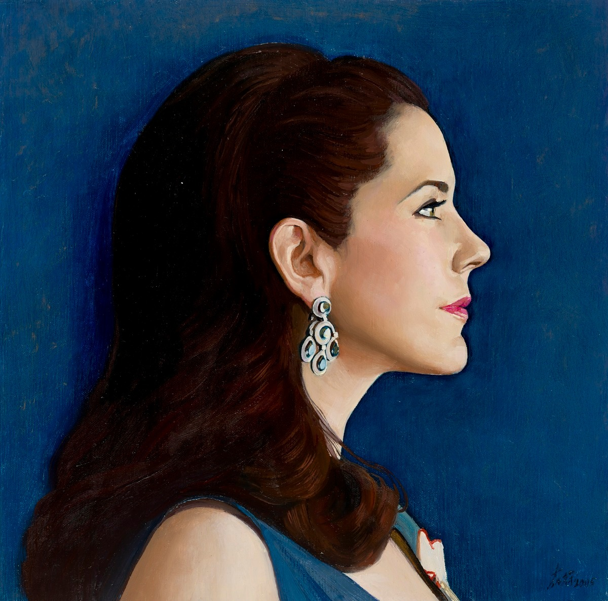 Study for commissioned portrait of HRH Crown Princess Mary of Denmark (profile head study), 2005 by Jiawei Shen